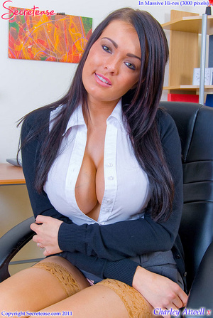 Super busty office girl in tan stockings - XXX Dessert - Picture 1