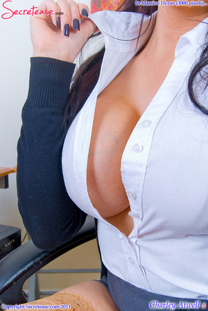 Super busty office girl in tan stockings - XXX Dessert - Picture 2