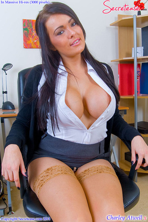 Super busty office girl in tan stockings - XXX Dessert - Picture 3