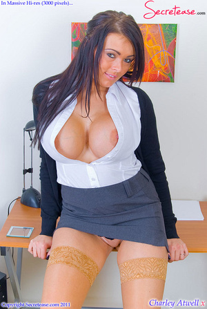 Super busty office girl in tan stockings - XXX Dessert - Picture 5
