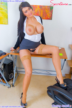 Super busty office girl in tan stockings - XXX Dessert - Picture 8