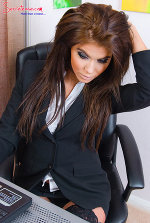 Brunette sexy secretary in crotchless pa - XXX Dessert - Picture 1