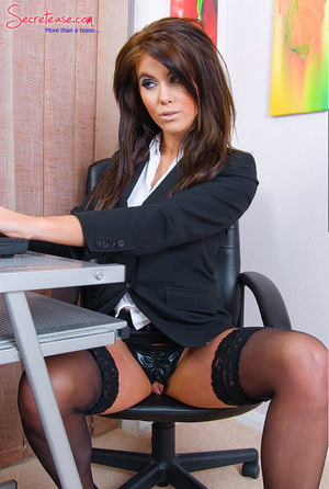Brunette sexy secretary in crotchless pa - XXX Dessert - Picture 2