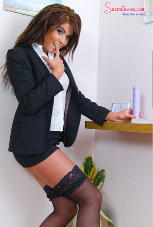 Brunette sexy secretary in crotchless pa - XXX Dessert - Picture 5