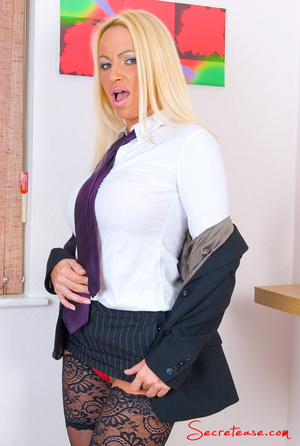 Blonde secretary in red undies and black - XXX Dessert - Picture 6