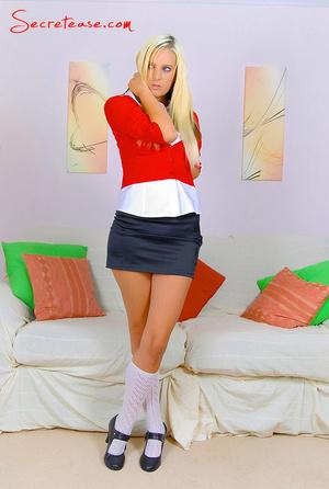 Stunning blonde chick in miniskirt and k - XXX Dessert - Picture 1