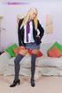 Sex hungry blonde college girl in pink panties and kneesokcs teasing on