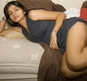 Perky tits indian chick slowly getting naked while in private.