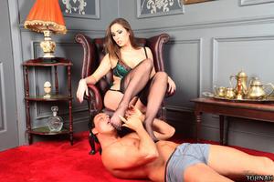 Sex starving brunette milf in black stoc - XXX Dessert - Picture 8