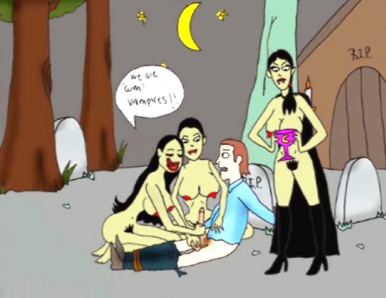 Sexe en Direct. Advertisement. Une cartoon et des gros seins dans un plan à trois visualisation.