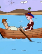 Pink haired cartoon gf giving a great tugjob to her lover while boating