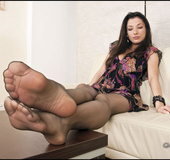 Adore her black stockings and nylon sex feet that all guys are demented