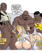 Blonde cartoon wife with epic boobs gets gang banged by three black guys