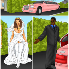 Perfect body brunette cartoon bride feels thick black - Picture 1