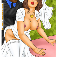 Perfect body brunette cartoon bride feels thick black - Picture 4
