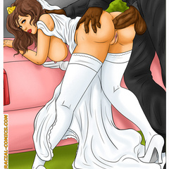 Perfect body brunette cartoon bride feels thick black - Picture 8