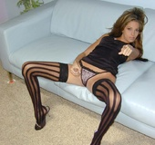 Those wild, wide-striped black nylons will catch your attention, though