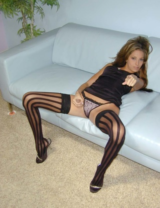 wild wide-striped black nylons