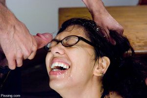 Girl pissing is so pleasant especially when caressed by two students! - XXXonXXX - Pic 7