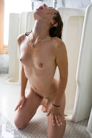 She was caught by two guys and underwent men pissing in the toilet - XXXonXXX - Pic 14