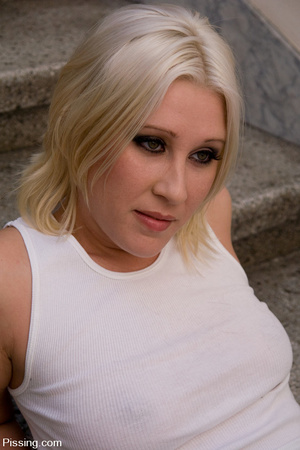 Why do such sexy blondes allow guys do Pissing in Public on themselves? - XXXonXXX - Pic 1