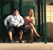 He gave her phallus-shaped dildo and had the fastest nude in public disappearance!
