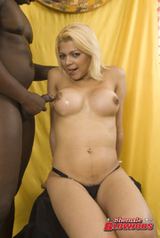 heavy breasts blonde shemale