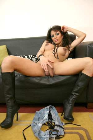 Busty ladyboy in leather boots and minis - XXX Dessert - Picture 2