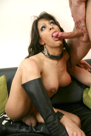 Busty ladyboy in leather boots and minis - XXX Dessert - Picture 11