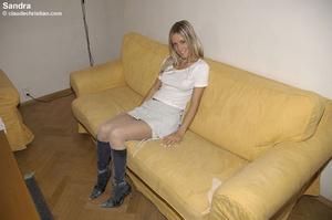 Blindfolded babe Sandra in white stockin - XXX Dessert - Picture 4