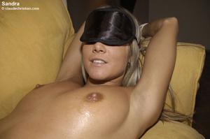 Blindfolded babe Sandra in white stockin - XXX Dessert - Picture 10
