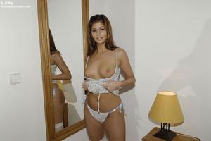 Blindfolded babe Sandra in white stockin - XXX Dessert - Picture 13