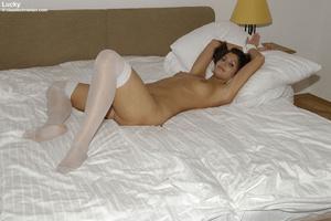 Blindfolded babe Sandra in white stockin - XXX Dessert - Picture 17