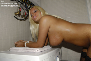 Sun-tanned busty Tiff strips on the wash - XXX Dessert - Picture 15