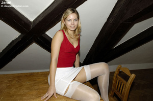 Sexy blonde Jenni in white nylons wears  - XXX Dessert - Picture 2
