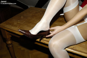 Sexy blonde Jenni in white nylons wears  - XXX Dessert - Picture 6