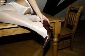 Sexy blonde Jenni in white nylons wears  - XXX Dessert - Picture 9