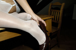 Sexy blonde Jenni in white nylons wears  - XXX Dessert - Picture 11