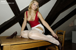 Sexy blonde Jenni in white nylons wears  - XXX Dessert - Picture 12