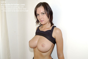 Perfect boobed babe Lucy in black pantyh - XXX Dessert - Picture 1