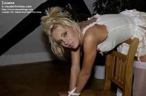 Stunning blonde Zuzana bent over the cha - XXX Dessert - Picture 12