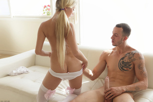 Cum hungry blonde erotic teen in white l - XXX Dessert - Picture 14