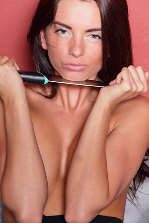 Brunette topless babe cutting her leggin - XXX Dessert - Picture 2
