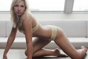 Erotic blonde nymph in tight yellow unde - XXX Dessert - Picture 3