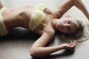 Erotic blonde nymph in tight yellow unde - XXX Dessert - Picture 10