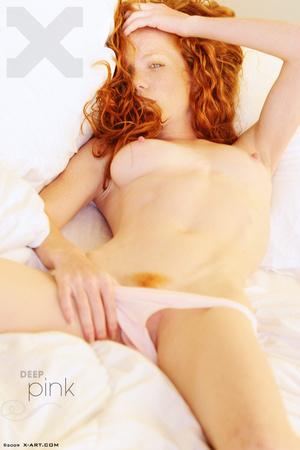 Astonishing sexy redhead bimbo rubbing h - XXX Dessert - Picture 1