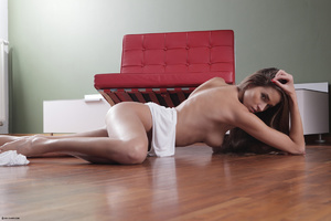 Erotic striptease on the red chair Brune - XXX Dessert - Picture 4