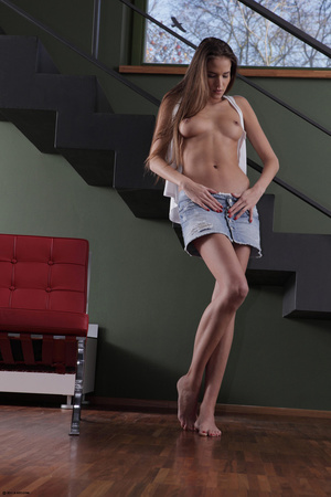 Erotic striptease on the red chair Brune - XXX Dessert - Picture 11