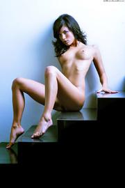 slim brunette maiden posing