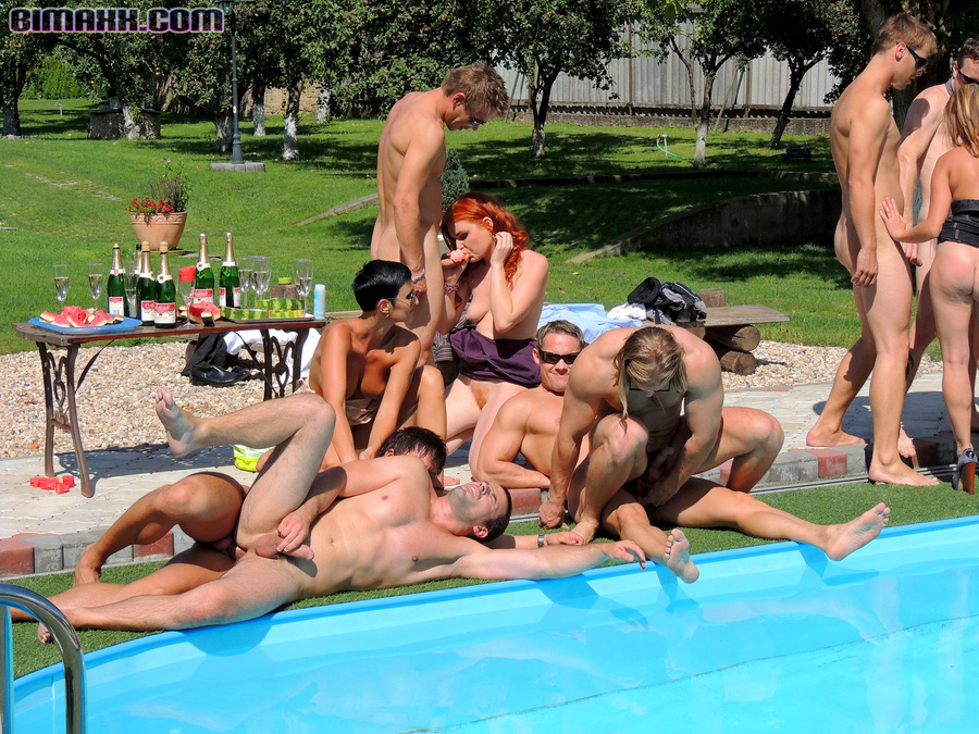 Bi sex pool party, sweet lesbian sex video